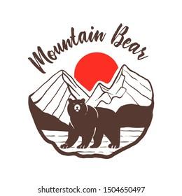Mountain Bear, vintage mountain print on tshirt, Bear logo outdoor vintage style