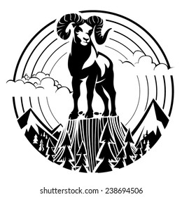 Mountain bighorn sheep. Vector illustration in the engraving style