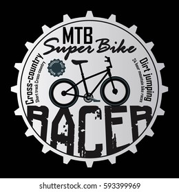 mountain bike , badge , t shirt graphics , vector , bicycle