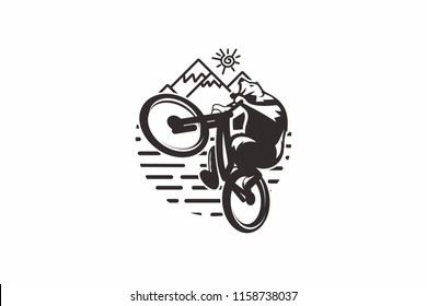 Mountain Bike Bear Cartoon Vector