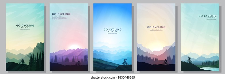 Mountain bike. City cycling.  Travel concept of discovering, exploring and observing nature. Cycling. Adventure tourism. Minimalist graphic flyers. Polygonal flat design for coupon, voucher, gift card - Shutterstock ID 1830448865