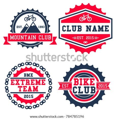 Mountain Bike Club Logo Set Isolated Stock Vector Royalty Free