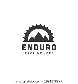Mountain bike cycle enduro silhouette logo design chain combination
