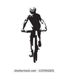 Mountain bike cycling, mtb, isolated vector silhouette. Downhill cyclist, front view