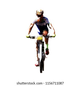 Mountain bike cycling, polygonal mtb cyclist. Isolated vector illustration. Front view