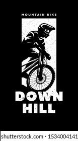 Mountain bike, downhill. Banner, t-shirt print design on a dark background.