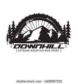 mountain bike downhill logo with wheel and mountain