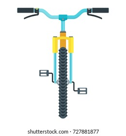 Mountain bike front view. Flat vector cartoon illustration. Objects isolated on a white background.