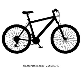 mountain bike with gear shifting black silhouette vector illustration isolated on white background
