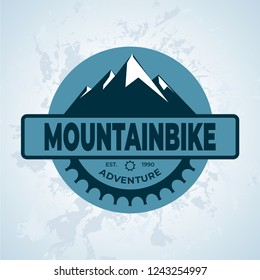 Mountain bike gear, vintage and modern vector logo, badge, label and design elements.