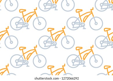 Mountain bike icon in line style isolated on white background.  Seamless pattern stock vector illustration