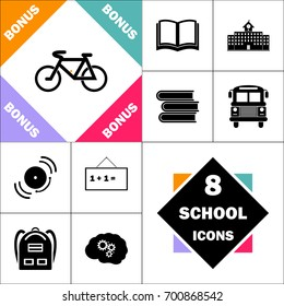 Mountain bike Icon and Set Perfect Back to School pictogram. Contains such Icons as Schoolbook, School  Building, School Bus, Textbooks, Bell, Blackboard, Student Backpack, Brain Learn