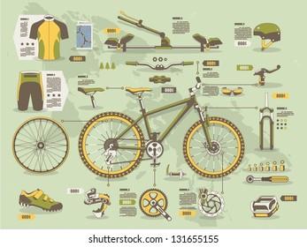mountain bike info graphic elements,