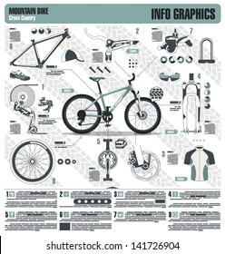 Mountain bike info graphic elements, vector