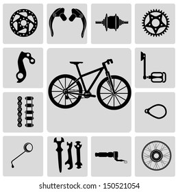 Mountain bike info graphic elements, with spare parts vector