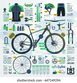 mountain bike infographic, vector elements