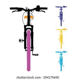 Mountain bike isolated. Front view. Vector, illustration.