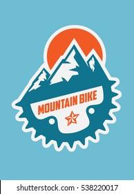 Mountain bike logo badge emblem
