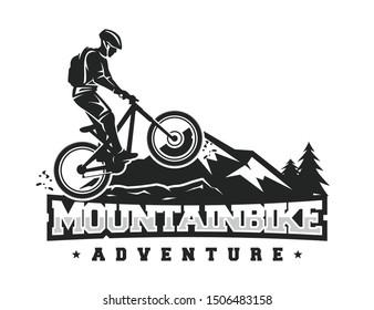 Mountain bike logo design vector