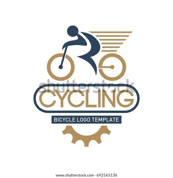Mountain bike logo template. Speed biker