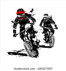 mountain bike race silhouette vector