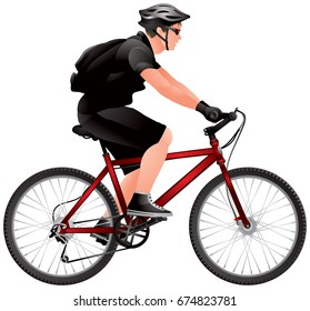 Mountain Bike Racer, cyclist biker with backpack, Bicycle race, Ecotourism, bicycle tourism, realistic vector illustration