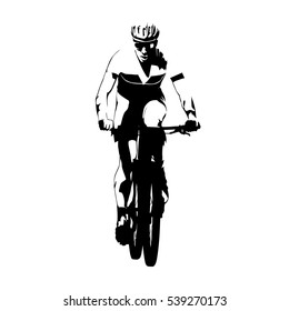 Mountain bike racing, abstract vector cyclist silhouette, front view