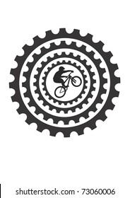 Mountain bike rider and bicycle cogs