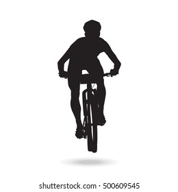 Mountain bike rider front view silhouette. Focused balancing position. Cross country marathon racing sports.