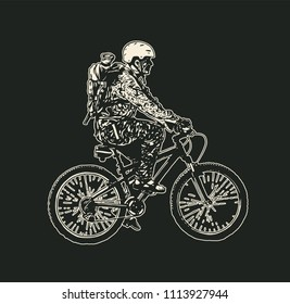 Mountain bike rider in a helmet and with a backpack. Drawing Style. Vector illustration.