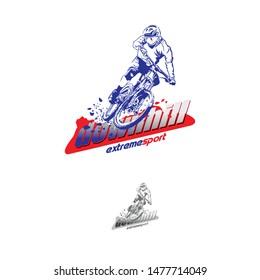 Mountain Bike Rider logo design. Vector Illustration. Background.