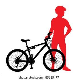 Mountain bike rider silhouette vector image