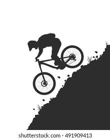 Mountain Bike Rider. Vector Illustration.