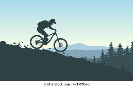 Mountain Bike Rider. Vector Illustration. Landscape Background.