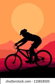 Mountain bike rider in wild mountain nature landscape background illustration vector