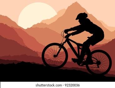 Mountain bike rider in wild nature landscape background illustration vector