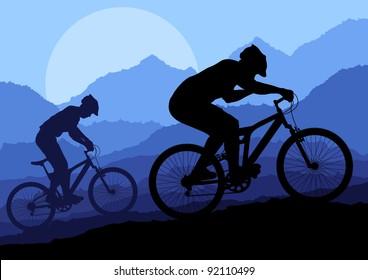 Mountain bike riders in wild nature landscape background illustration vector