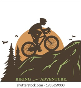 Mountain bike vector biking adventure creative art