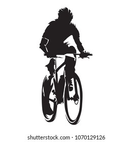 Mountain biker, cycling, isolated vector silhouette