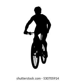 Mountain biker, mtb cyclist vector silhouette