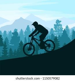 Mountain Biker Silhouette. Downhill,MTB,Cycling