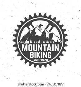 Mountain biking club. Vector illustration. Concept for shirt or logo, print, stamp or biking tourism. Vintage typography design with forest, mountain bikes silhouette.