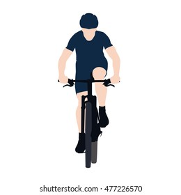 Mountain biking, flat vector illustration. Front view. Cyclist in blue jersey.