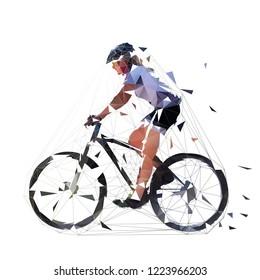 Mountain biking, low polygonal woman illustration, side view. MTB female biker. Cycling