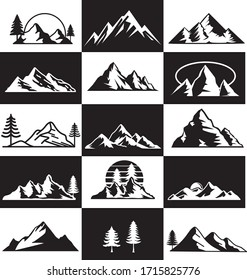 Mountain Black And White Basic Logo Vector Board