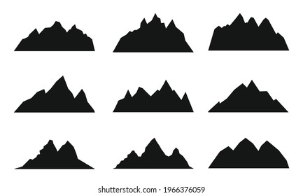 Mountain blakc simple silhouette. Rocky range landscape black shape. Hiking mountains peaks, hills and cliffs. Climbing stone mount abstract contour collection.