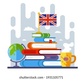 mountain from books on the study of the English language. goal in learning a foreign language. flat vector illustration.