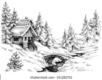 Mountain cabin in the woods near river. Idyllic landscape