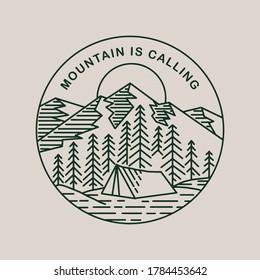 Mountain is calling circle badge design