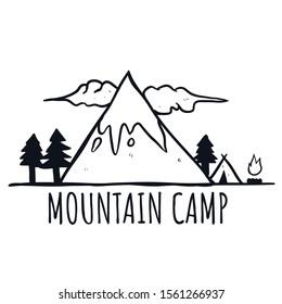 Mountain camp. drawing flat line mountain illustration.